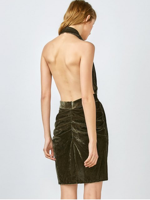 outfit Sexy Backless Velvet Draped Tulip Dress - ARMY GREEN L Mobile
