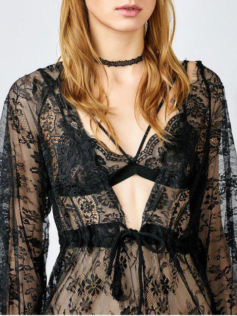 unique See Thru Lace Plunging Neck Babydoll - BLACK S Mobile