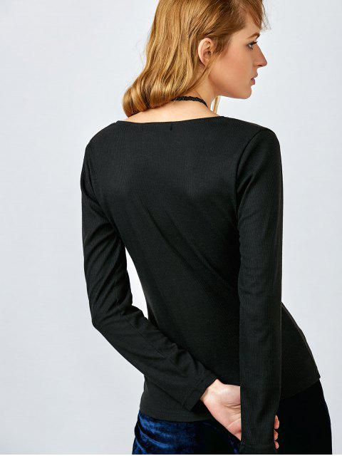 Plongeant Neck Half Bouton Top - Noir XL Mobile