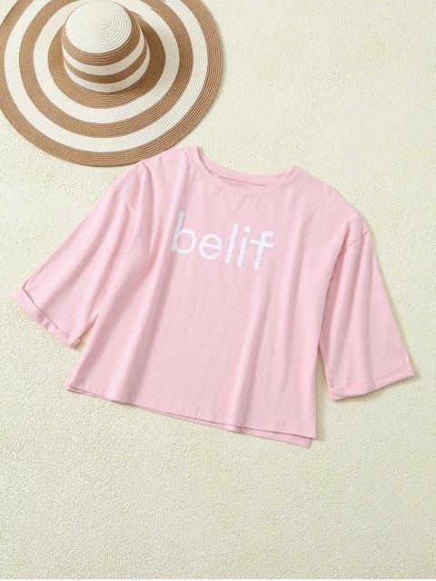 T-shirt graphique avec manches recroquevillées et incisions latérales - ROSE PÂLE M Mobile