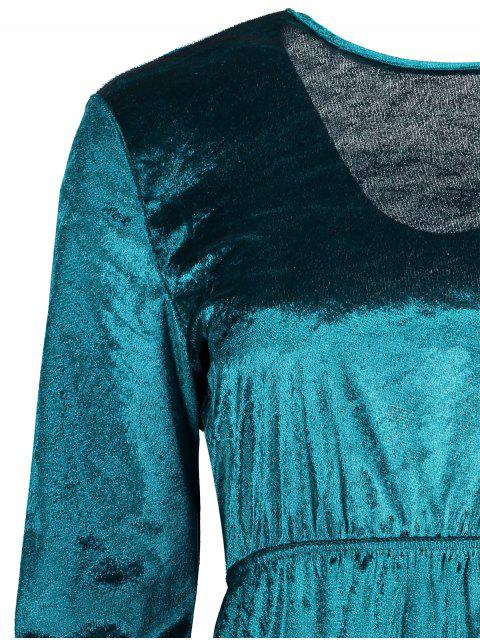 affordable Fit and Flare Open Back Velvet Dress - MALACHITE GREEN S Mobile