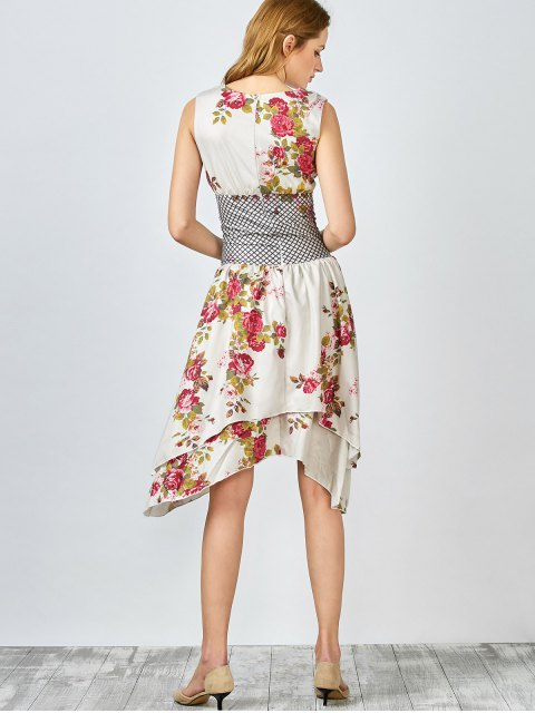 chic Floral Plunging Collar Sleeveless Dress - LIGHT CAMEL L Mobile