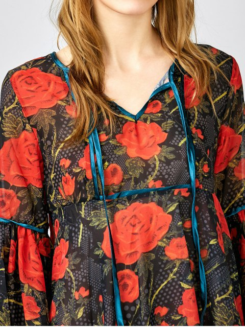 ladies Red Floral 3/4 Sleeve Blouse - RED XS Mobile