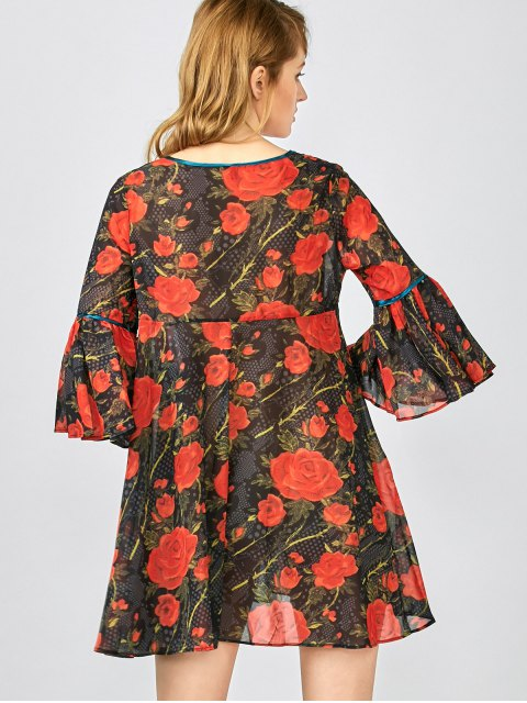 online Red Floral 3/4 Sleeve Blouse - RED L Mobile