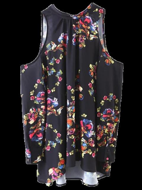 lady Tied Cold Shoulder Floral Blouse - BLACK S Mobile