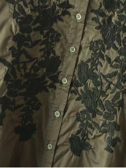 best Floral Embroidered High Low Shirt Dress - ARMY GREEN M Mobile