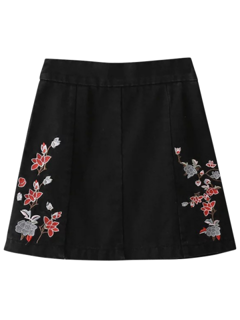 best Zippered Floral Denim Skirt - BLACK L Mobile