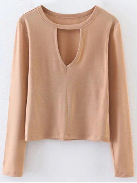 outfit Keyhole Layering Top - LIGHT KHAKI M Mobile