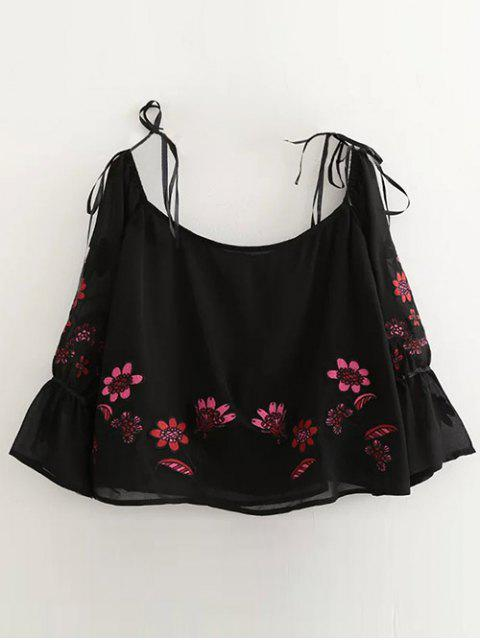 Blumen gestickt aus Schulterbluse - Schwarz M Mobile