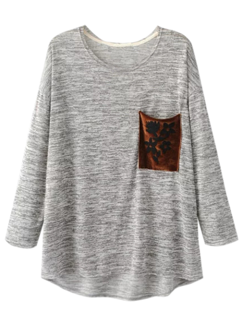best Heathered Pocket Knit Top - LIGHT GRAY M Mobile