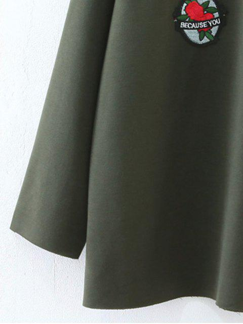 womens Oversized Patched Top - ARMY GREEN L Mobile