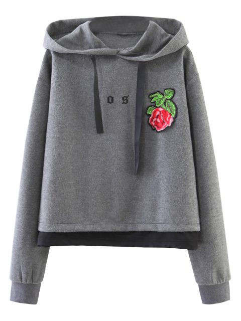 Sweat à Capuche à Rose Patchée - Gris S Mobile