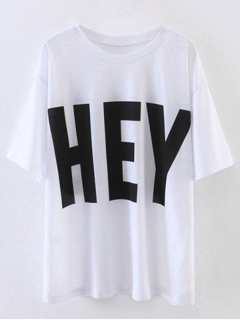 lady Oversized Hey Print T-Shirt - WHITE M Mobile