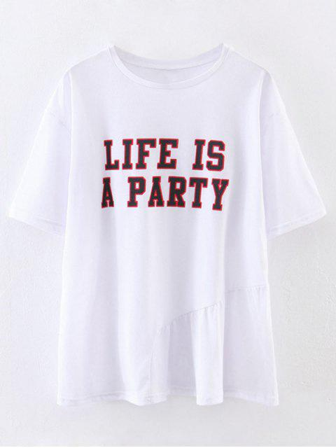 shop Oversized Life Is A Party T-Shirt - WHITE S Mobile