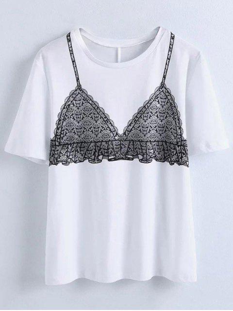T-shirt imprimé d'un soutien-gorge - Blanc L Mobile