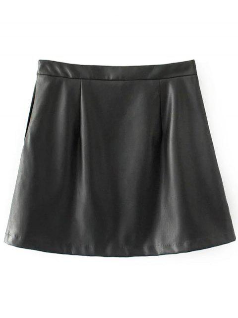 latest Faux Leather Flower Embroidered Skirt - BLACK S Mobile