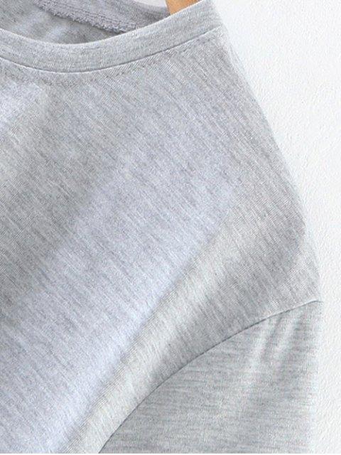 fancy Oversized Number Print T-Shirt - LIGHT GRAY S Mobile