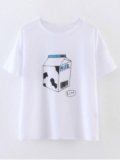 buy Cute Milk Print T-Shirt - WHITE S Mobile