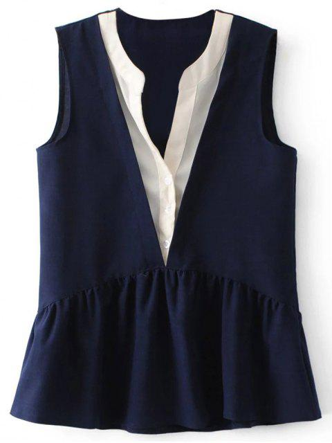 ladies Faux Layered Peplum Tank Top - PURPLISH BLUE S Mobile
