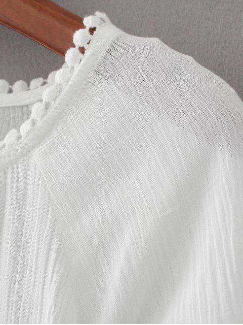 sale Flare Sleeve Laser Cut Tassels Dress - WHITE M Mobile