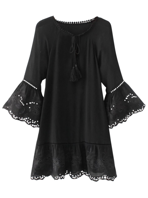 buy Flare Sleeve Laser Cut Tassels Dress - BLACK L Mobile
