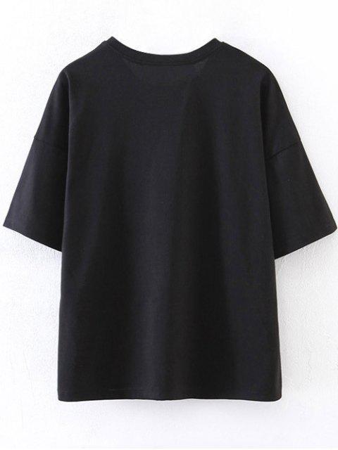 latest Drop Shoulder Letter T-Shirt - BLACK S Mobile
