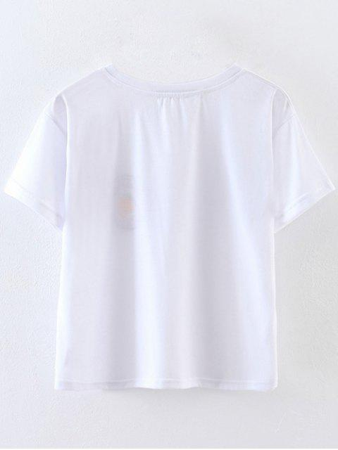 ladies Patched Cropped T-Shirt - WHITE L Mobile