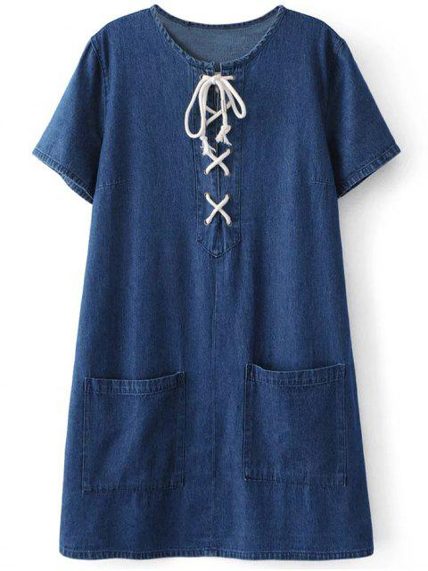 latest Pockets Lace Up Denim Shift Dress - BLUE L Mobile