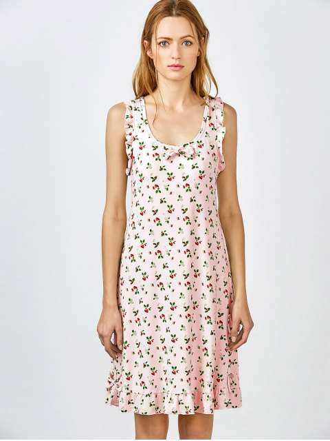 fashion Bowknot Frilled Sleep Dress - PINK L Mobile