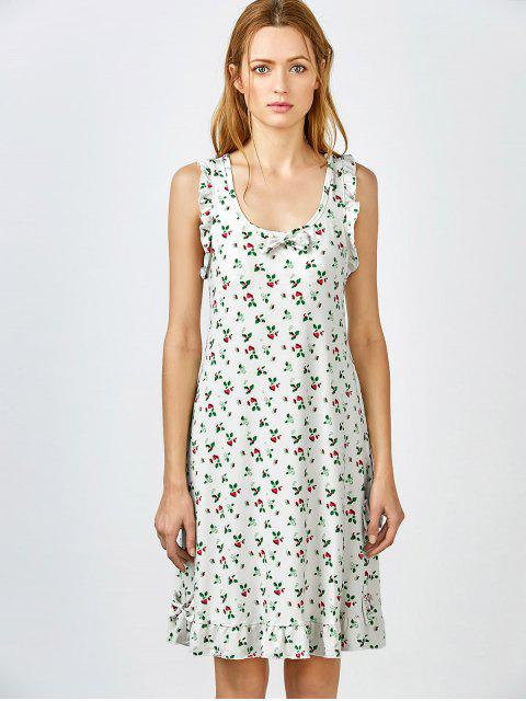 unique Bowknot Frilled Sleep Dress - WHITE GREY L Mobile