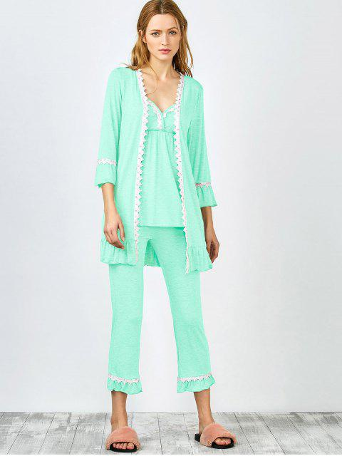 shops 3 Pieces Lace Open Front Sleepwear Suits - LIGHT GREEN M Mobile