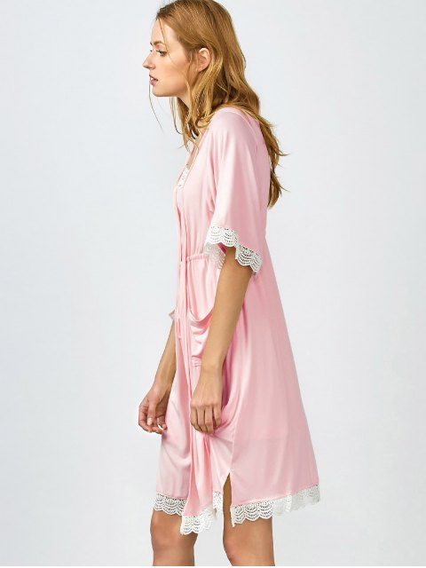 chic Lace Trim Cami Sleepwear with Kimono - SHALLOW PINK M Mobile