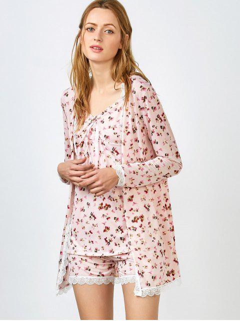 buy Chemise Slip Dress and Shorts and Sleep Robe - PINK L Mobile