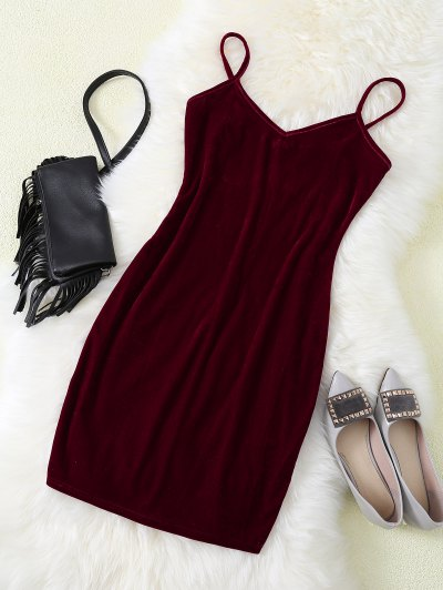 Strappy Velvet Bodycon Slip Dress - Burgundy L