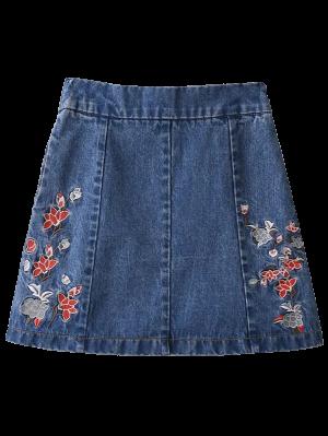 Zippered Floral Denim Skirt - Blue Xl