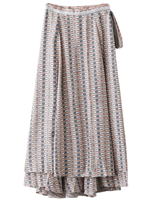 Printed Wrap Maxi Skirt - Blue M