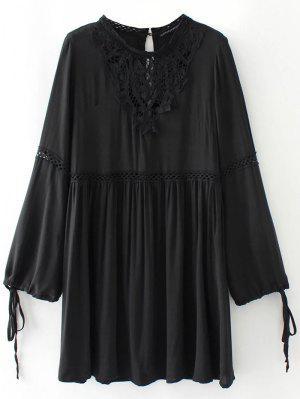 Laser Cut Vestido De Delantal - Negro S