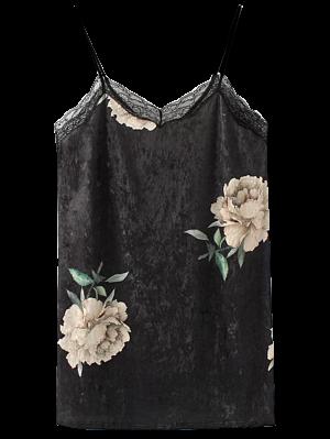 Robe Florale à Bretelle Réglable En Velours Insérée Dentelle  - Noir M