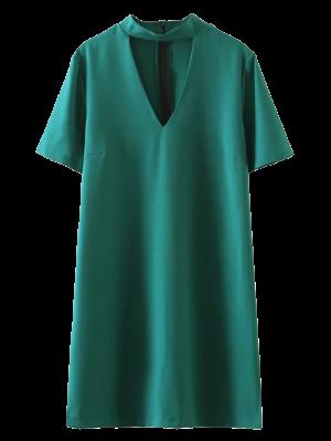 Short Sleeve Shift Choker Dress - Green M