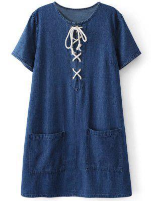 Bolsillos Vestido De Cambio Ata Para Arriba El Dril De Algodón - Azul M