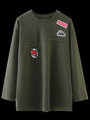 De Gran Tamaño Parcheado Top - Verde Del Ejército S