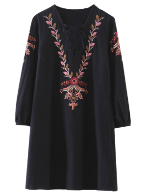 Brodé à Lacets A-ligne De Robe - Noir M
