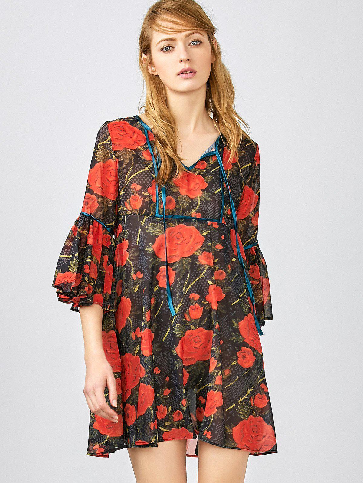 Bluse mit Roten Blumendrucken und 3/4 rmel