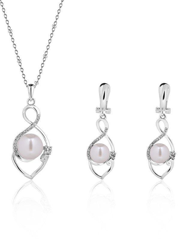 Ensemble de bijoux faux perle Infinity alliage