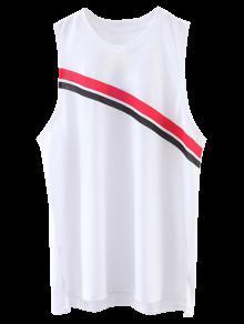 Diagonal Striped Tank Top - White S