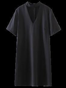 Cambio De Manga Corta Vestido De Gargantilla - Negro S