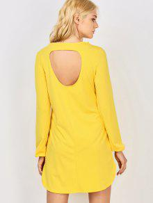 Long Sleeve Hollow Back Yellow Dress - Yellow Xl