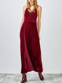 High Slit Velvet Backless Prom Slip Dress - Red L