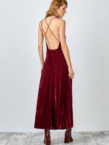 high slit velvet backless prom slip dress