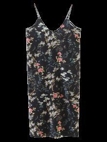 Vestido Floral Del Delantal De Cami - Negro M